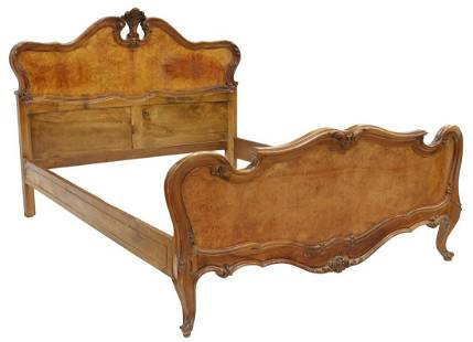 LOUIS XV STYLE CARVED WALNUT QUEEN SIZE BED