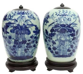 (2) CHINESE BLUE & WHITE PORCELAIN GINGER JARS