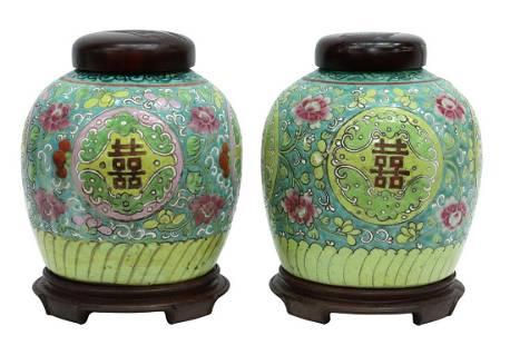 (2) CHINESE FAMILLE VERTE PORCELAIN GINGER JARS