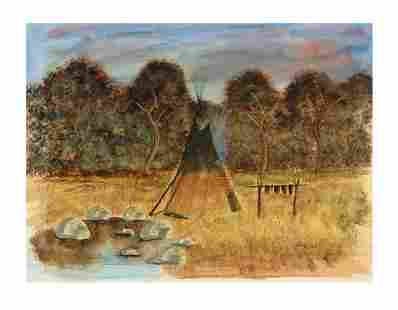 RAY DARBY HUNTING HORSE (1938-2016) TEEPE PAINTING