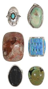 (6) SILVER RINGS OPAL, TRILOBITE FOSSIL, TURQUOISE