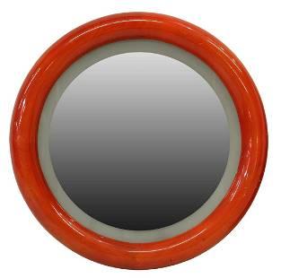 ITALIAN MODERN RED CIRCULAR WALL MIRROR