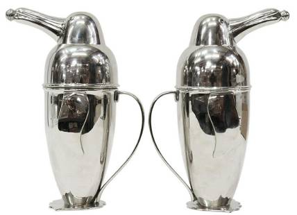 (2) ART DECO STYLE PENGUIN COCKTAIL SHAKERS