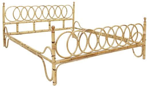ITALIAN MID-CENTURY MODERN BAMBOO & RATTAN BED