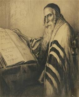 SIGNED JUDAICA ETCHING RABBI STUDYING THE TORAH