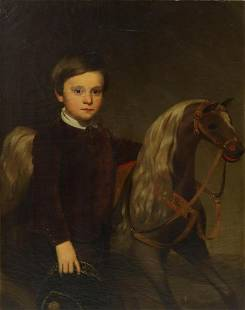 AMERICAN SCHOOL PORTRAIT OF A BOY WITH TOY HORSE