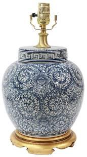 CHINESE BLUE & WHITE PORCELAIN TABLE LAMP