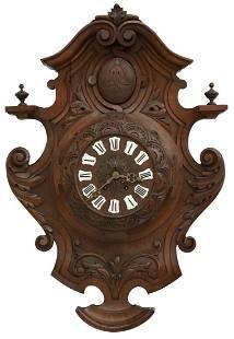 FRENCH ED. SCHIRRMANN CARVED WALNUT WALL CLOCK