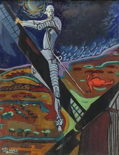 JEAN DEL DEVEZ (1910-1983) DON QUIXOTE PAINTING