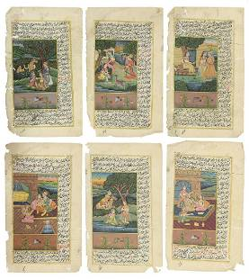 (6) INDO-PERSIAN ILLUSTRATED MANUSCRIPT PAGES