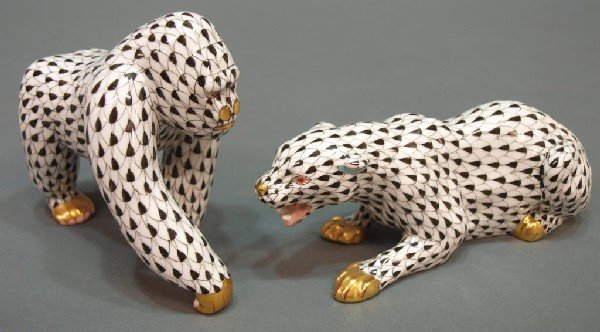 501: HEREND PORCELAIN JUNGLE COLLECTION APE & PANTHER