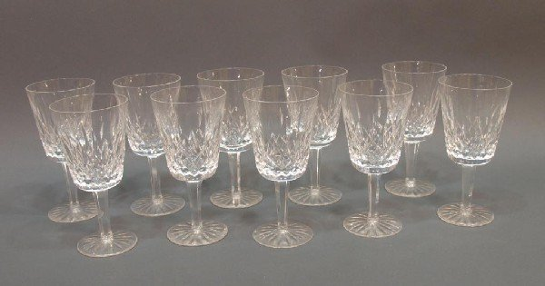 507: (10) WATERFORD CUT CRYSTAL 'LISMORE' GOBLETS