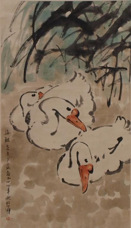 513: CHINESE HANGING WALL SCROLL, RESTING SWANS