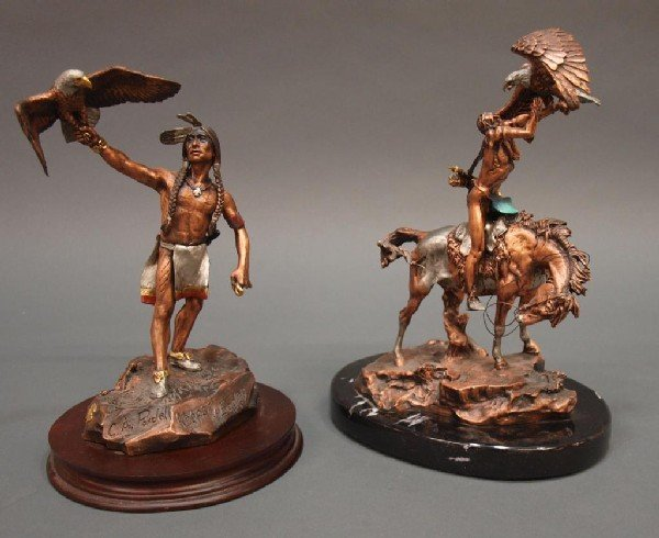 522: SIGNED NATIVE AMERICAN INDIAN & EAGLE SCULPTURES