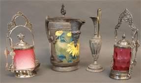 558 VICTORIAN SILVER PLATE SATIN GLASS PICKLE CASTORS