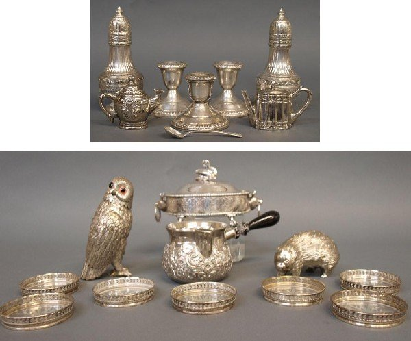 564: STERLING & SILVER PLATE FIGURAL SERVICE ARTICLES