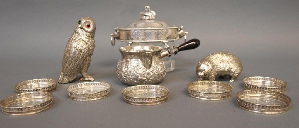 564: STERLING & SILVER PLATE FIGURAL SERVICE ARTICLES - 3