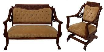 804: FINE VICTORIAN CARVED MAHOGANY PARLOR SUITE