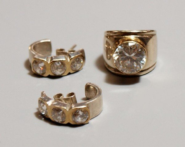 15: LADIES ESTATE 950 SILVER & 18KT GOLD JEWELRY SUITE