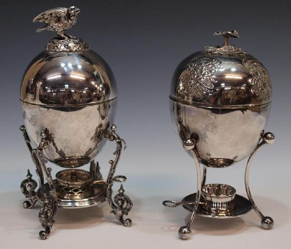 503: (2) ELABORATE SILVER PLATE EGG CODDLERS, SHEFFIELD