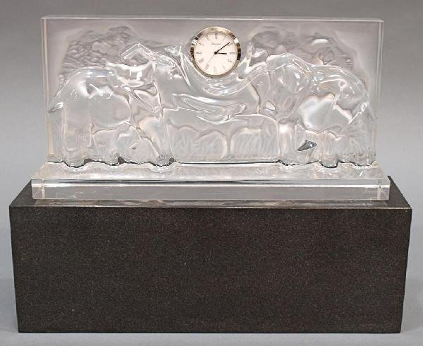 511: LARGE BACCARAT CRYSTAL RELIEF ELEPHANT CLOCK