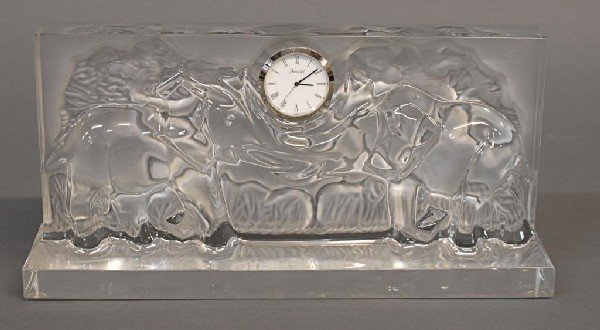 511: LARGE BACCARAT CRYSTAL RELIEF ELEPHANT CLOCK - 2