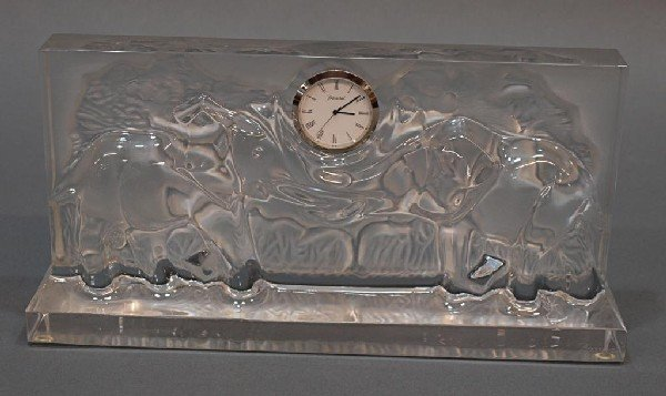 511: LARGE BACCARAT CRYSTAL RELIEF ELEPHANT CLOCK - 3