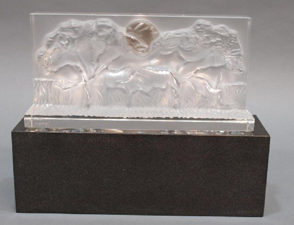 511: LARGE BACCARAT CRYSTAL RELIEF ELEPHANT CLOCK - 4
