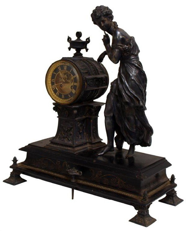 512: ANTIQUE FRENCH FIGURAL CLOCK, OPEN ESCAPEMENT