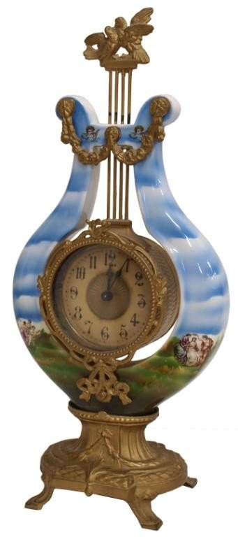 513: ANTIQUE GERMAN PORCELAIN & GILT METAL CLOCK