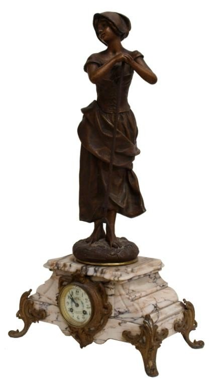 514: ANTIQUE FRENCH FIGURAL MARBLE CLOCK, F. MARTI