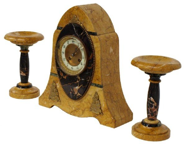 516: FRENCH ART DECO GARNITURE CLOCK SET, JAPY FRERES