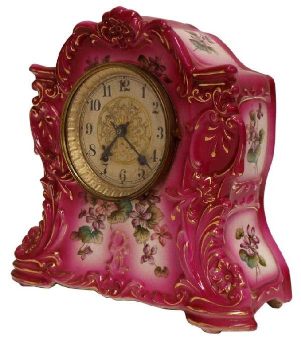 518: WATERBURY ROCOCO PORCELAIN CASE SHELF CLOCK