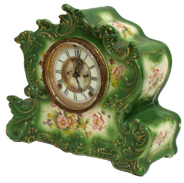 519: ANSONIA PORCELAIN SHELF CLOCK, OPEN ESCAPEMENT