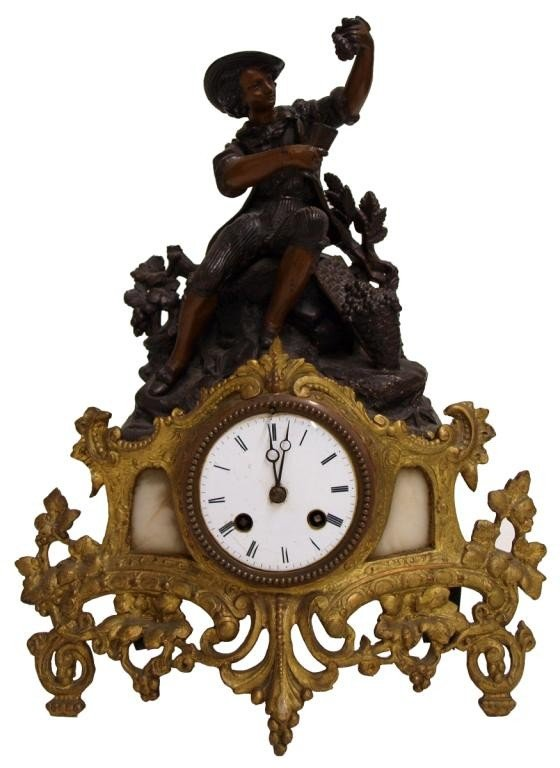 520: ANTIQUE FRENCH FIGURAL CLOCK, JAPY FRERES