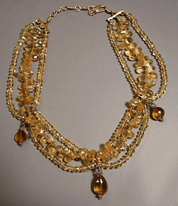 523: LADIES 18KT GOLD & BEADED CITRINE DRAPE NECKLACE