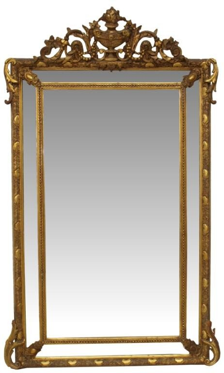 608: 19TH C FRENCH CARVED GILT WOOD WALL MIRROR