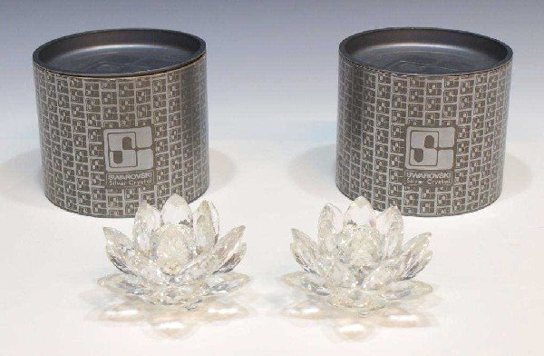 2: (PAIR) SWAROVSKI CRYSTAL LOTUS CANDLE HOLDERS