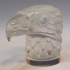 3: LALIQUE FRANCE FROSTED GLASS EAGLE SCULPTURE