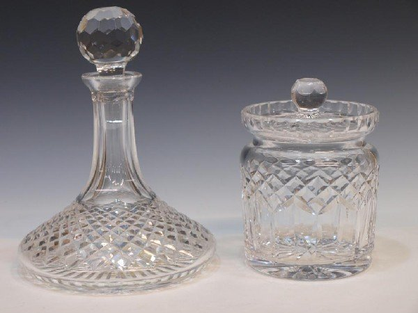 6: WATERFORD CRYSTAL SHIPS DECANTER & BISCUIT BARREL