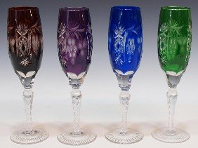 BOHEMIAN CUT TO CLEAR COLORED CHAMPAGNE FLUTES