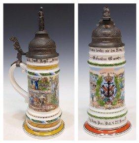 8: (2) GERMAN REGIMENTAL LITHOPHANE BEER STEINS