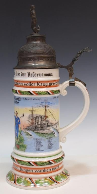 9: GERMAN REGIMENTAL LITHOPHANE BEER STEIN
