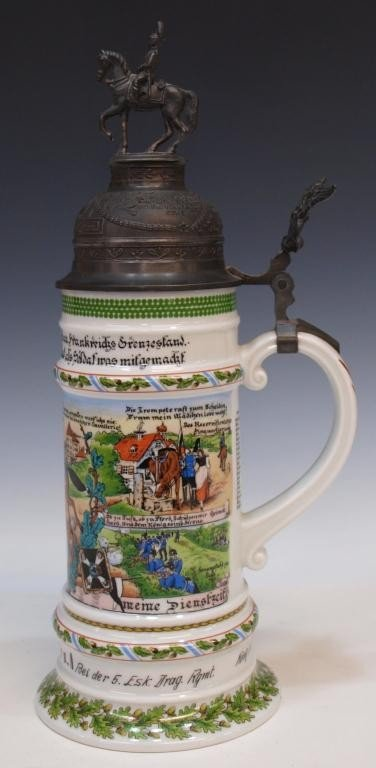 10: GERMAN REGIMENTAL LITHOPHANE BEER STEIN