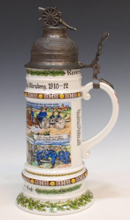 11: GERMAN REGIMENTAL LITHOPHANE BEER STEIN