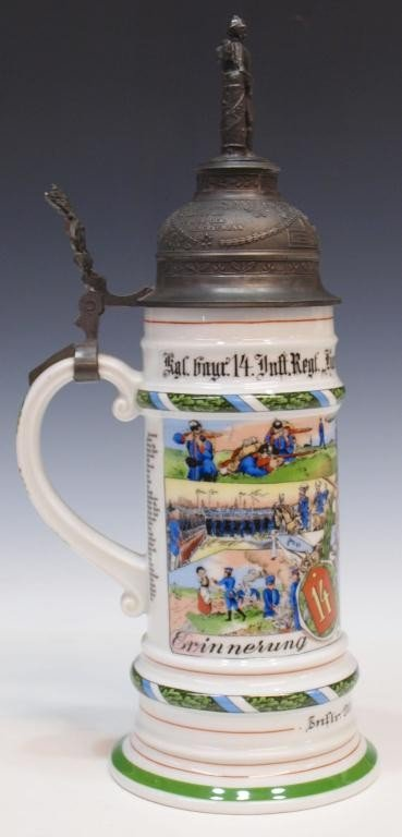 12: GERMAN REGIMENTAL LITHOPHANE BEER STEIN