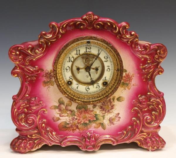 "13: ANSONIA PORCELAIN CASED MANTLE CLOCK, ""RUSTIC"""