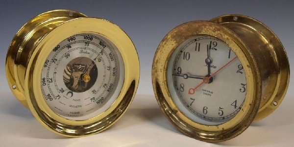 14: (2) BOSTON BY CHELSEA NAUTICAL CLOCK & BAROMETER