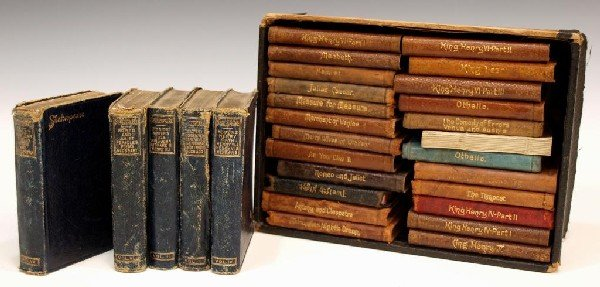 15: (29) MINIATURE LEATHER BOUND SHAKESPEARE BOOKS