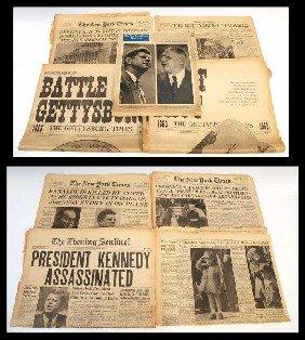 17: (8) CIVIL WAR GETTYSBURG & KENNEDY NEWS PAPERS
